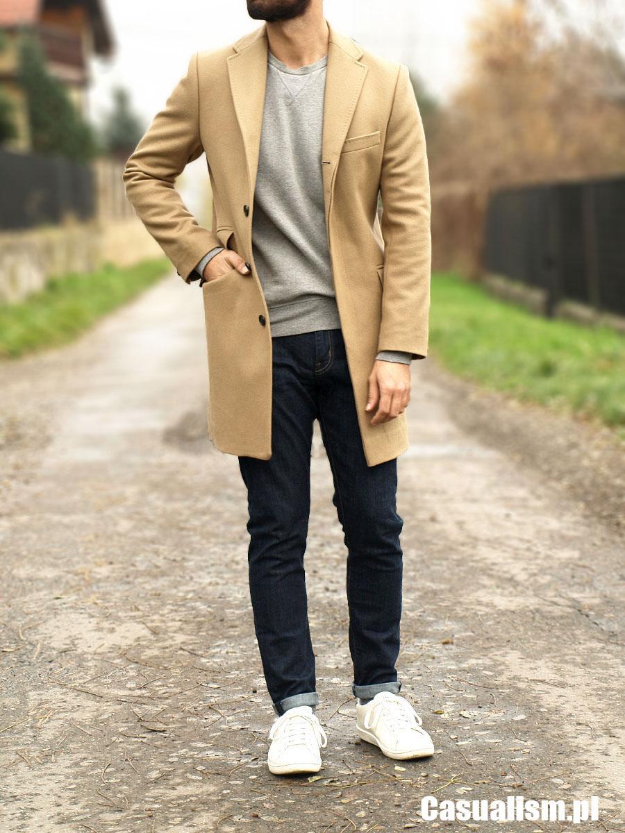 Beżowy Płaszcz Casual Casualism Blog Moda Męska