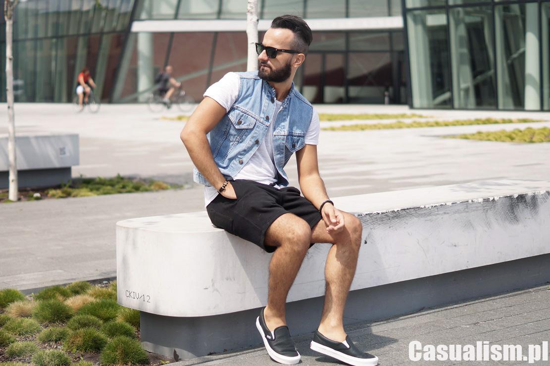 męska kamizelka jeansowa