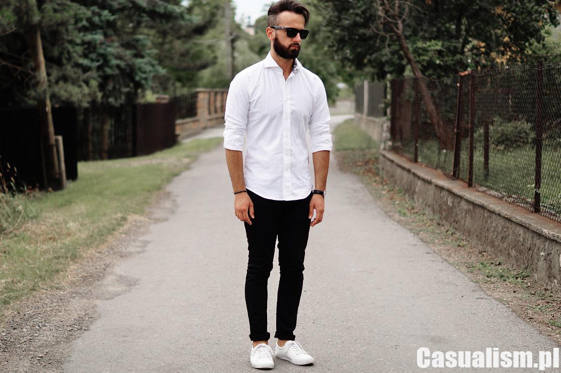 Koszula i czarne spodnie