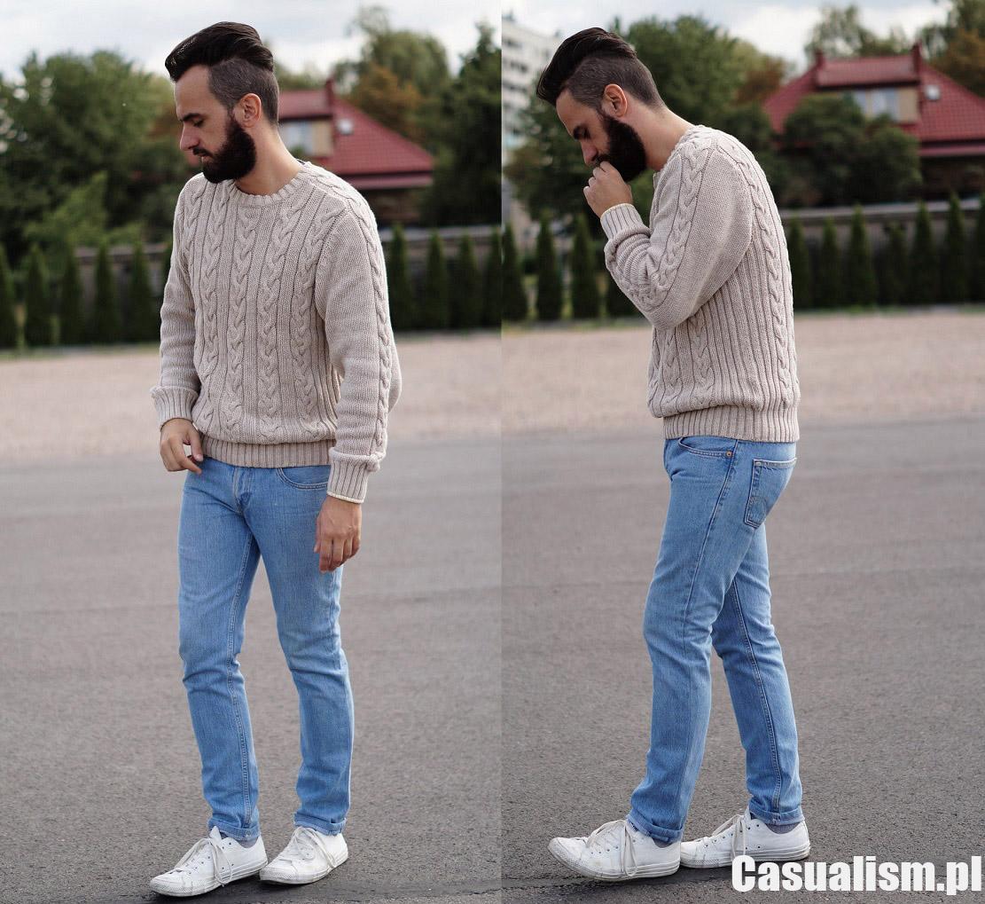 Gruby sweter w warkocze