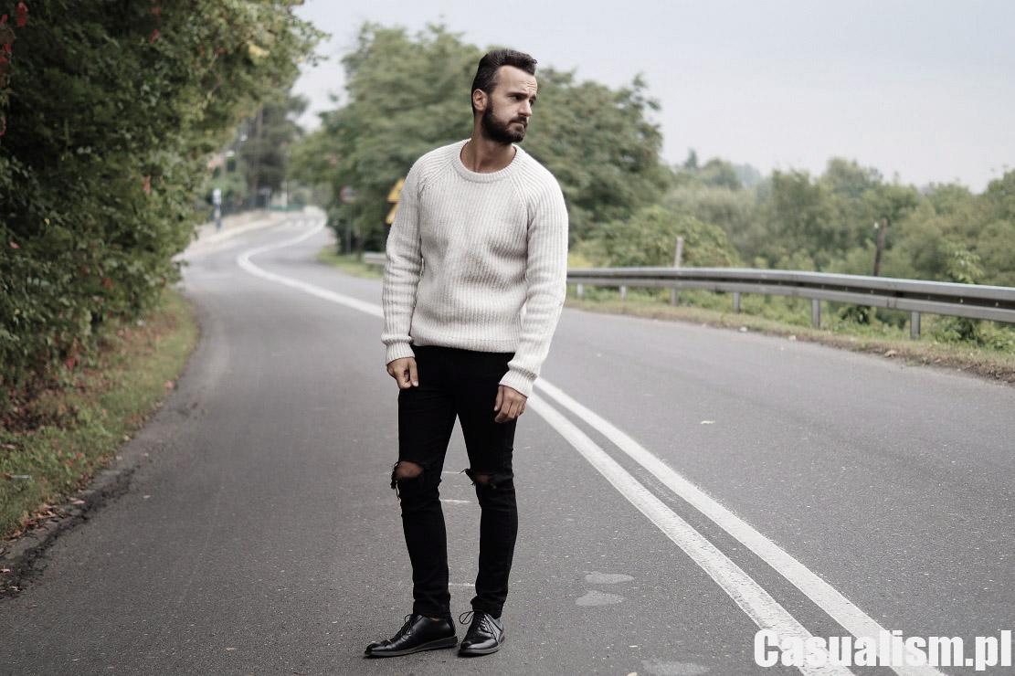 Gruby sweter męski