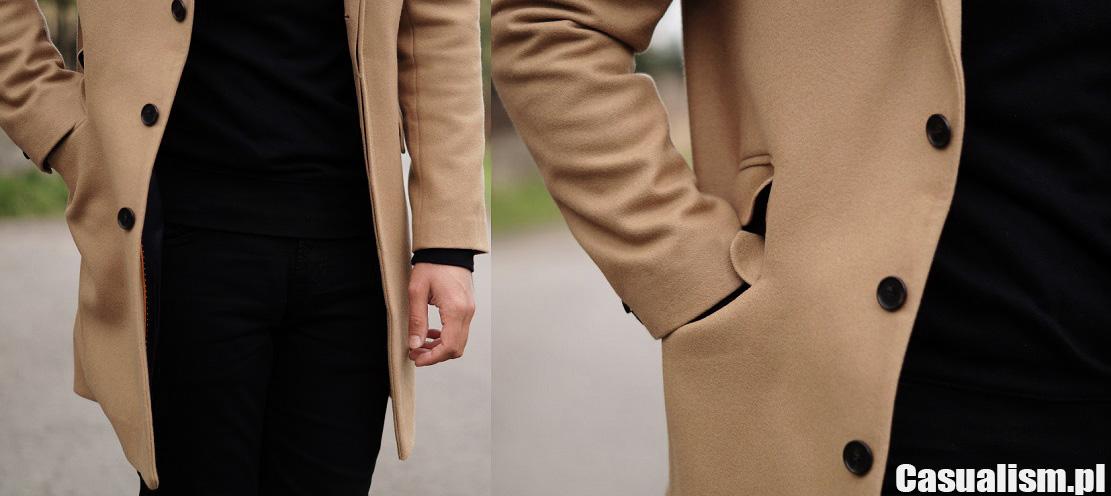 Męski płaszcz beżowy