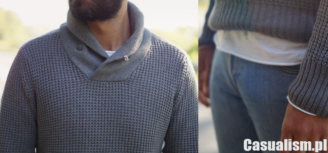 Szary sweter pleciony