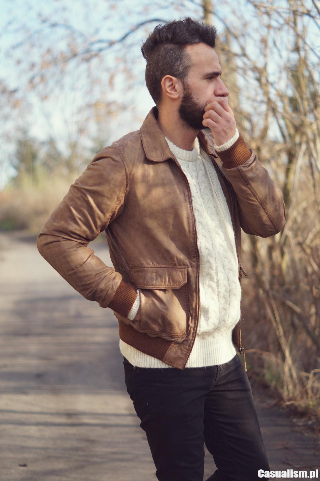 Skórzana kurtka brązowa