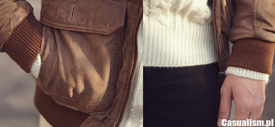 Brązowa kurtka skórzana
