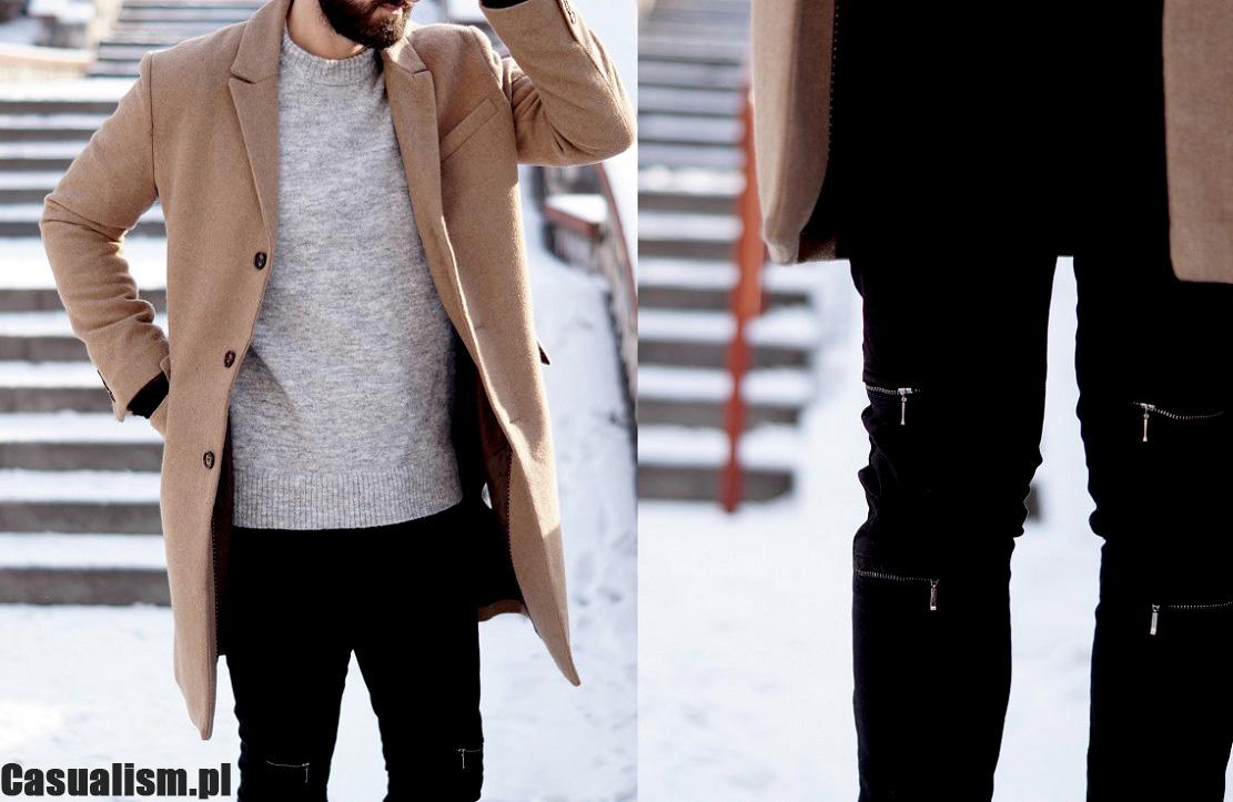Płascze męskie, jeansy z dziurami, jeansy z zamkami