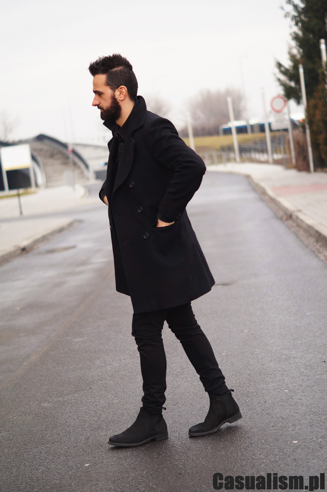 Czarny płaszcz męski, dwurzędowy płaszcz