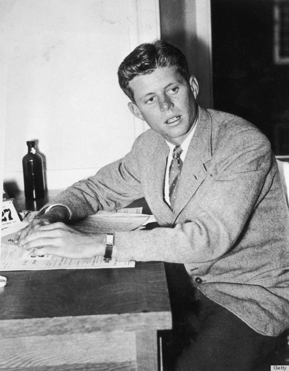 27th September 1938: John F Kennedy (1917 - 1963) sits with his hands on a desk while attending Harvard University, Cambridge, Massachusetts. (Photo by Hulton Archive/Getty Images)