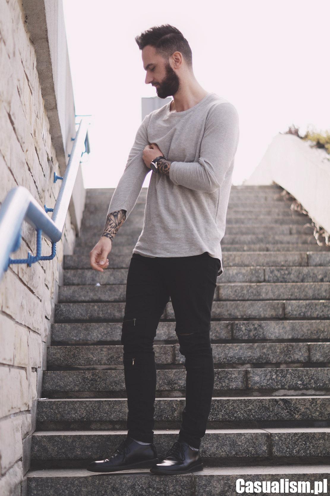 Bluzka z długim rękawem, szara bluzka męska, męskie bluzki. Długa bluzka dla mężczyzna, męska bluzka z długim rękawem.