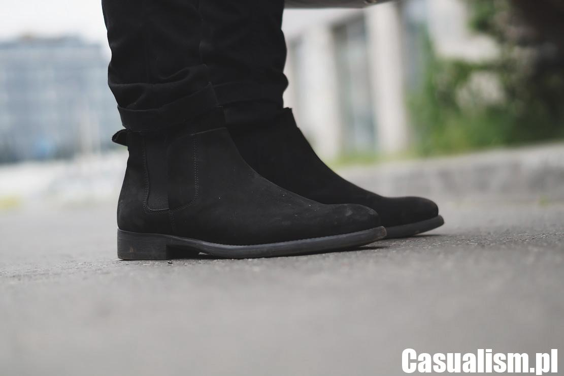 Buty chelsea, męskie sztyblety, czarne buty, buty za kostkę, czarne męskie buty, buty wizytowe wysokie.