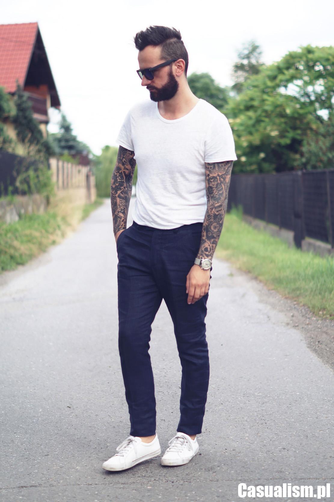Spodnie w kant z koszulką, spodnie z koszulką, t-shirt i spodnie w kant, spodnie eleganckie z koszulką, koszulka i eleganckie spodnie w kant, spodnie z lnu, lniane spodnie, koszulka lniana męska, męskie lniane koszulki.