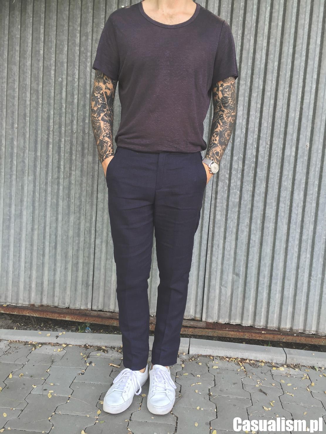 Lniane spodnie w kant, spodnie w kant z lnu, lniane kant spodnie, spodnie z lnu