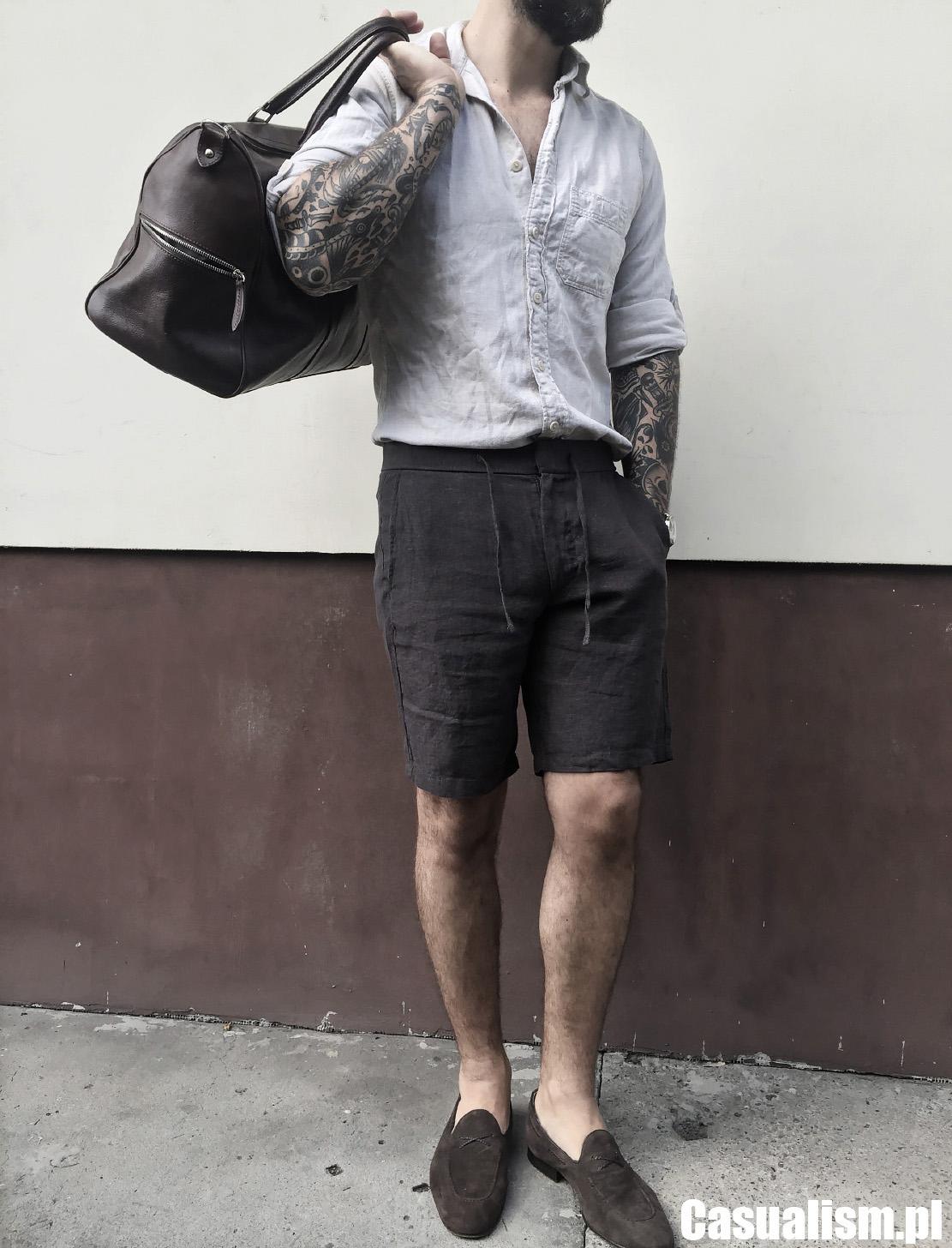 Krótkie spodenki i koszula, spodenki do koszula, jaka koszula do spodenki, smart casual ze spodenkami, męskie spodenki eleganckie, spodenki lniane