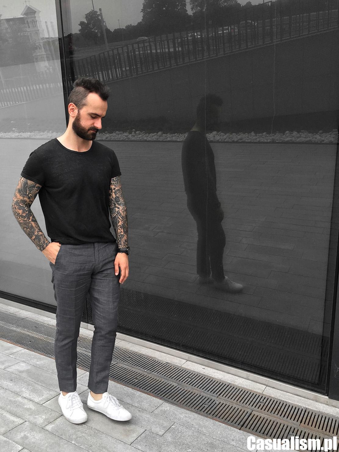 Koszulka lniana męska, męska koszulka z lnu, czarna koszulka męska, jak nosić koszulkę, spodnie w kant casual, spodnie kanty lniane, spodnie w kant lniane