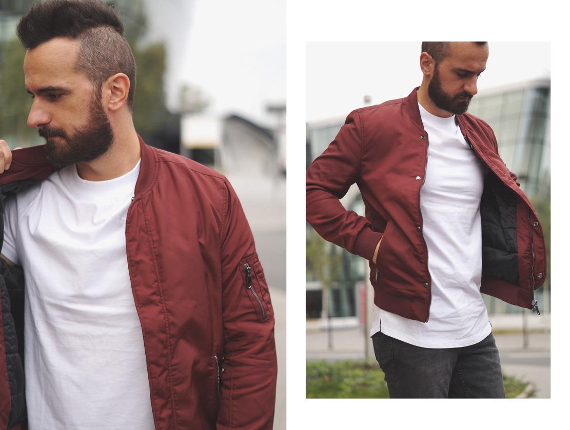 Męska kurtka bomber, bomber kurtka ortalionowa, kurtka bordowa, bordowa kurtka męska, styl casual dla faceta