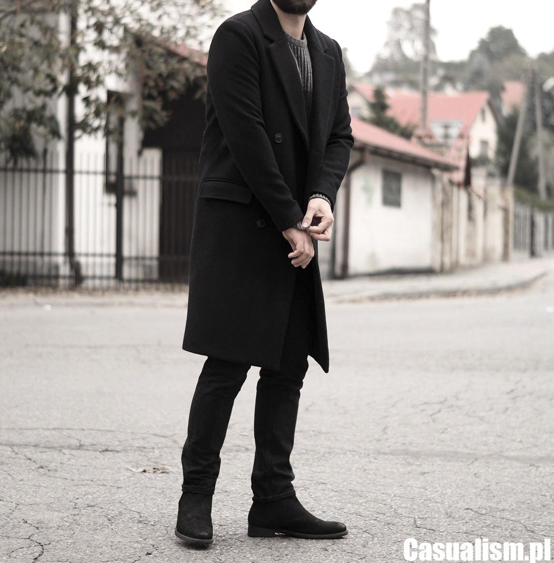 Długi płaszcz męski, męski płaszcz dwurzędowy, męskie płaszcze dwa rzędy, płaszcz militarny męski, męski płaszcz czarny, czarny płaszcz dla faceta