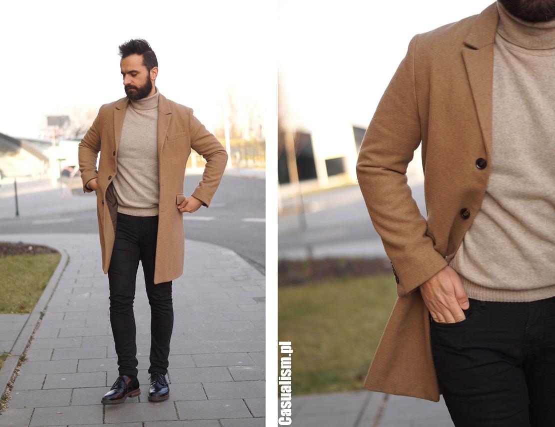 Męski płaszcz zimowy camel, płaszcz męski beżowy, beżowe męskie płaszcze, płaszcze męskie camel, camelowe płaszcze dla faceta, męski płaszcz jaki, płaszcz dla mężczyzny