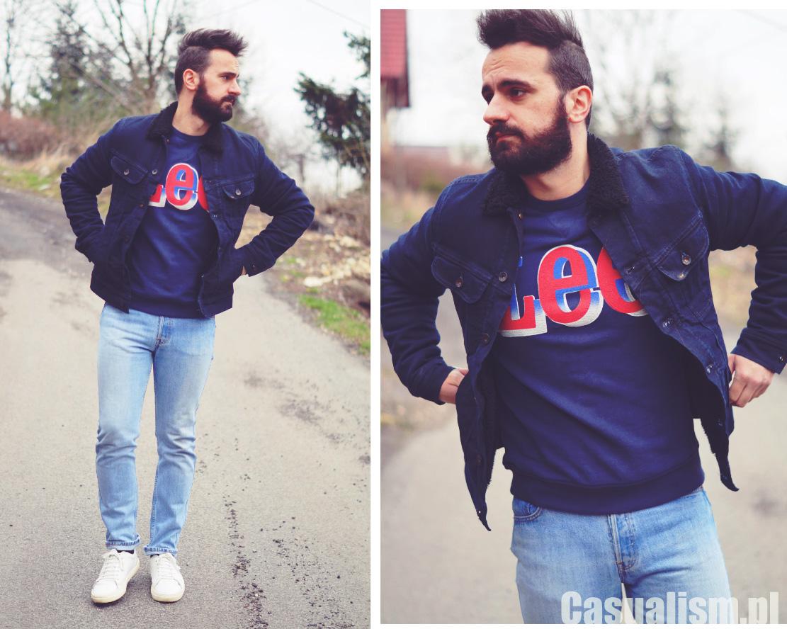 Bluza Lee męska, męska bluza lee, męskie bluzy modne, modna bluza męska, bluza vintage, retro styl męski
