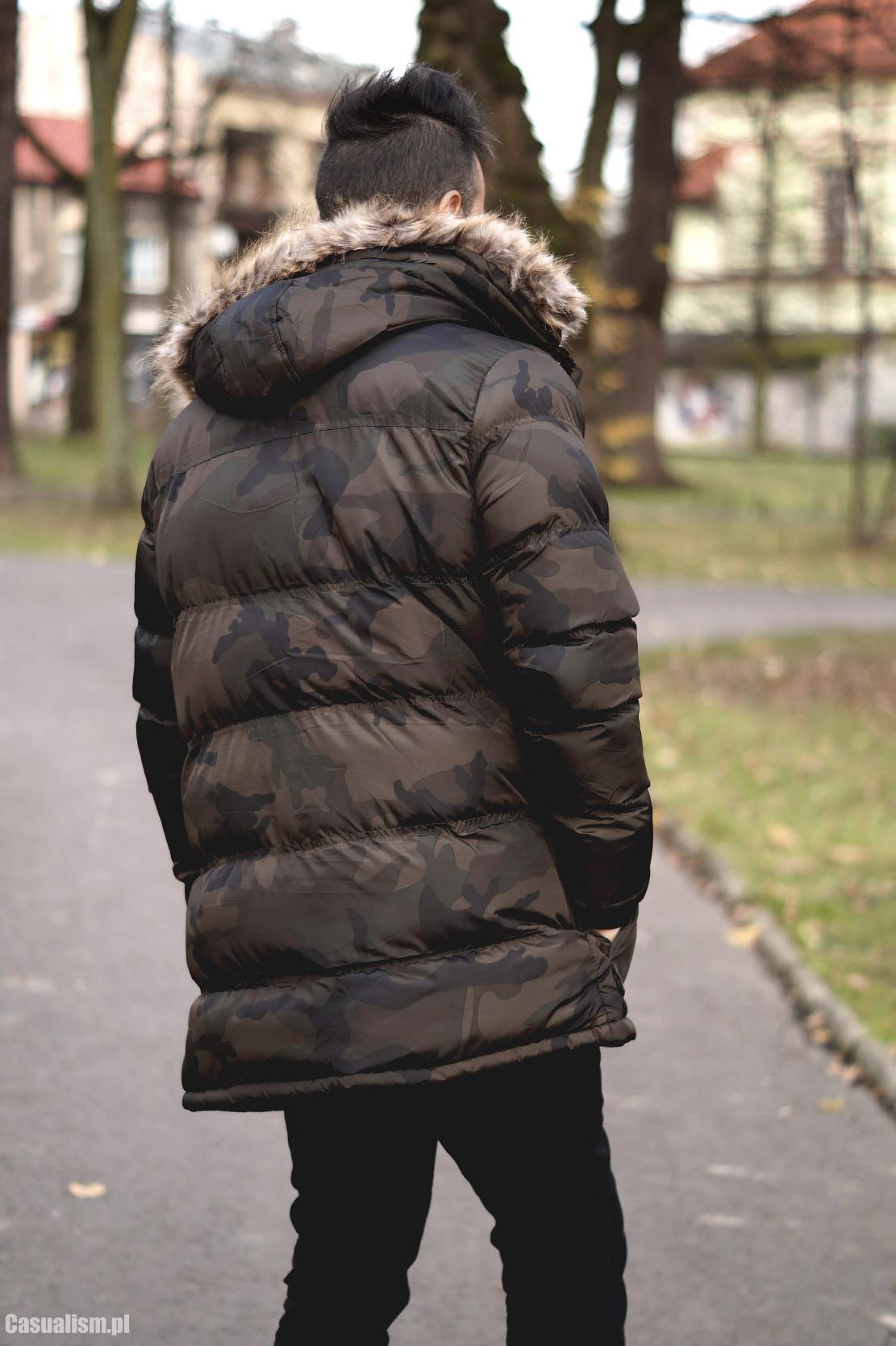 Męska parka camo, parka męska, męska parka, parka dla faceta, zimowa parka, parka na zimę, płaszcz zimowy, płaszcz na zimę męski, męskie płaszcze zimowe, puchowa kurtka