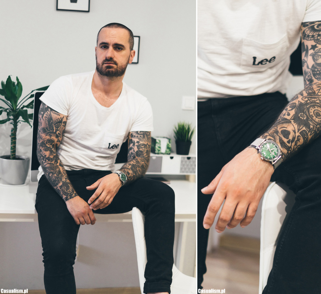zegarek giacomo design, giacomo design, zegarek męski zielony, zielona tarcza zegarka, zegarek retro, retro zegarek dla faceta, bransoletka mesh, vans oldskool, tatuaże, rękawy, tatuaż rękaw