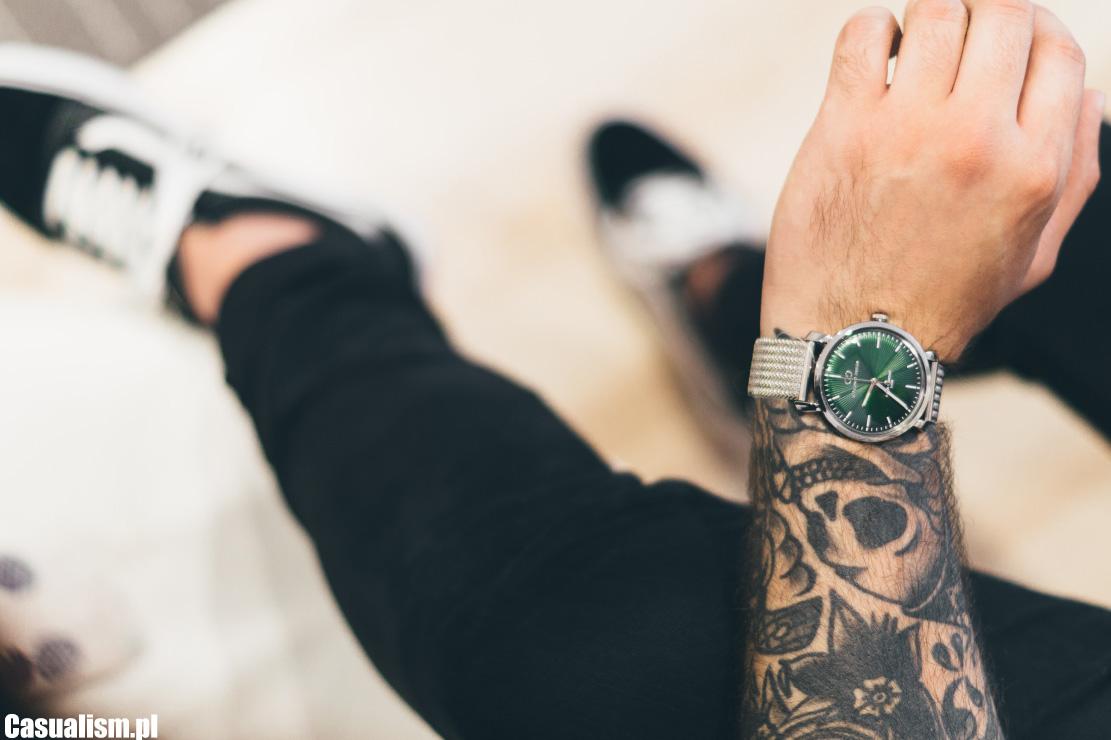 zegarek giacomo design, giacomo design, zegarek męski zielony, zielona tarcza zegarka, zegarek retro, retro zegarek dla faceta, bransoletka mesh, vans oldskool